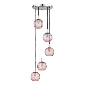 Rousseau Polished Chrome Five-Light Pendant with Pink Glass