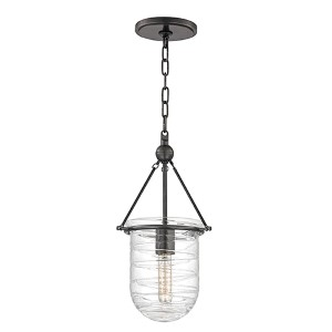 Willet Old Bronze One-Light mini pendant with Clear Pressed Glass