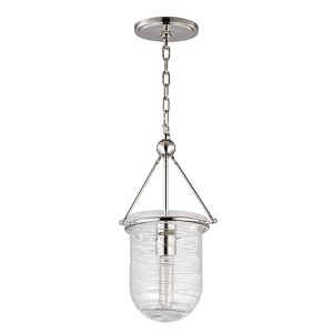 Willet Polished Nickel One-Light mini pendant with Clear Pressed Glass