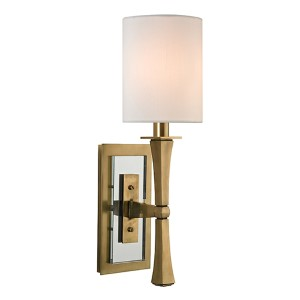 York Aged Brass One-Light Wall Sconce with White Shade