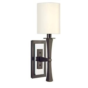 York Old Bronze One-Light Wall Sconce with White Shade