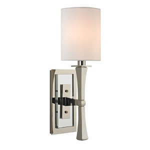 York Polished Nickel One-Light Wall Sconce with White Shade