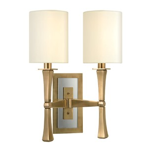 York Aged Brass Two-Light Wall Sconce with White Shade