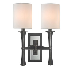 York Old Bronze Two-Light Wall Sconce with White Shade