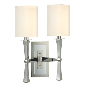 York Polished Nickel Two-Light Wall Sconce with White Shade