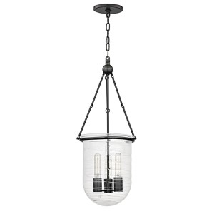 Willet Old Bronze Three-Light Pendant with Clear Pressed Glass