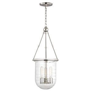 Willet Polished Nickel Three-Light Pendant with Clear Pressed Glass