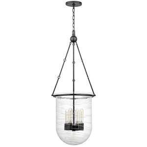 Willet Old Bronze Four-Light Pendant with Clear Pressed Glass