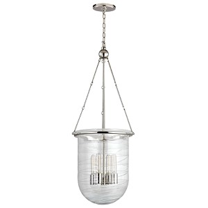 Willet Polished Nickel Four-Light Pendant with Clear Pressed Glass