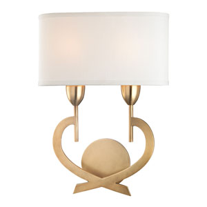 Downing Aged Brass Two-Light Wall Sconce with Shade