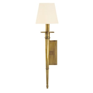 Stanford Aged Brass Round One-Light Wall Sconce with White Shade
