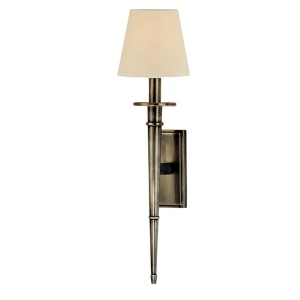 Stanford Aged Silver Round One-Light Wall Sconce with Cream Shade