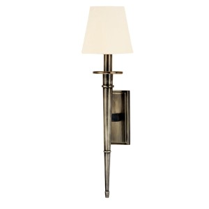 Stanford Aged Silver Round One-Light Wall Sconce with White Shade