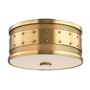 Gaines Aged Brass Two-Light Flush Mount with Frosted Inside-Clear Outside Glass