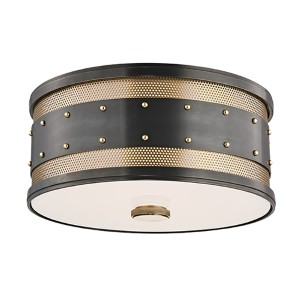 Gaines Aged Old Bronze Two-Light Flush Mount