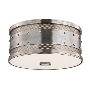 Gaines Historic Nickel Two-Light Flush Mount with Frosted Inside-Clear Outside Glass