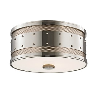 Gaines Polished Nickel Two-Light Flush Mount with Frosted Inside-Clear Outside Glass