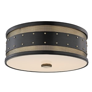 Gaines Aged Old Bronze Three-Light Flush Mount