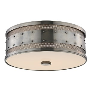 Gaines Historic Nickel Three-Light Flush Mount with Frosted Inside-Clear Outside Glass