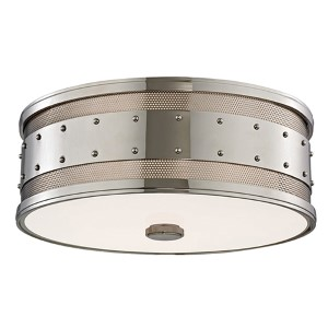 Gaines Polished Nickel Three-Light Flush Mount with Frosted Inside-Clear Outside Glass