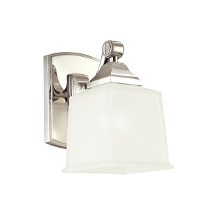 Lakeland Polished Chrome One-Light Bath Light Fixture with Inside Frosted Glass