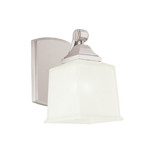 Lakeland Satin Nickel One-Light Bath Light Fixture with Inside Frosted Glass