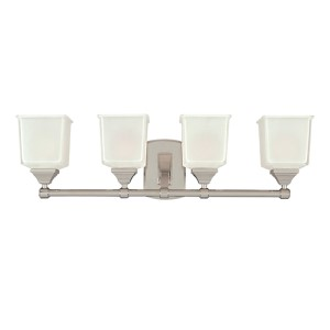 Lakeland Polished Chrome Four-Light Bath Light Fixture with Inside Frosted Glass