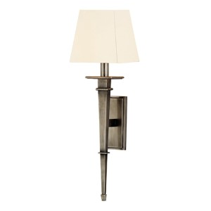 Stanford Aged Silver Square One-Light Wall Sconce with White Shade