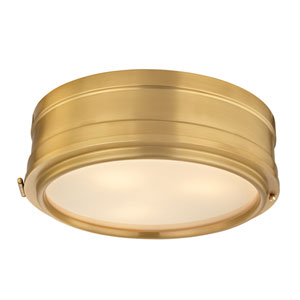 Rye Aged Brass Three-Light Flush Mount