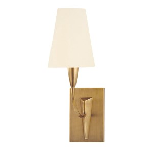 Berkley Aged Brass Wall Sconce with White Faux Silk Shade