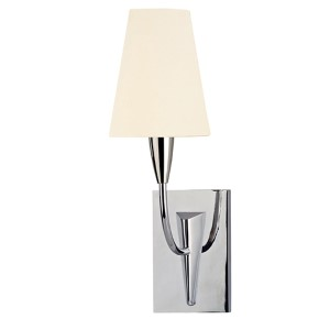 Berkley Polished Chrome Wall Sconce with White Faux Silk Shade