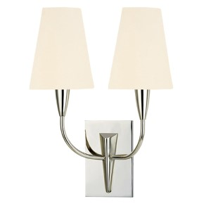 Berkley Polished Nickel Two-Light Wall Sconce with White Faux Silk Shade