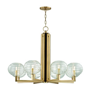 Breton Aged Brass Eight-Light LED Chandelier