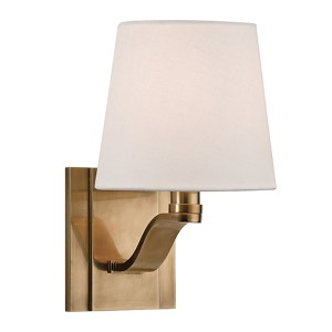 Clayton Aged Brass One-Light Wall Sconce with Linen Shade