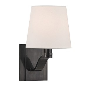 Clayton Old Bronze One-Light Wall Sconce with Linen Shade