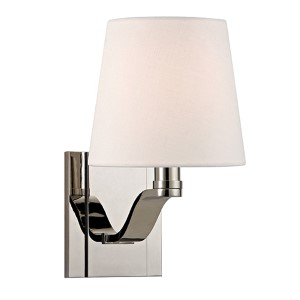 Clayton Polished Nickel One-Light Wall Sconce with Linen Shade