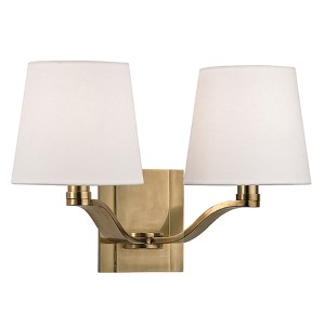 Clayton Aged Brass Two-Light Wall Sconce with Linen Shade