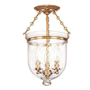 Hampton Aged Brass 15-Inch Three-Light Semi Flush with Clear Diamond Cut Glass
