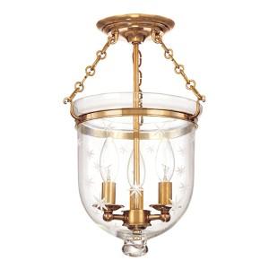 Hampton Aged Brass 15-Inch Three-Light Semi Flush with Clear Star Cut Glass