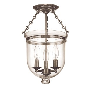 Hampton Small Historic Nickel Semi Flush Ceiling Light