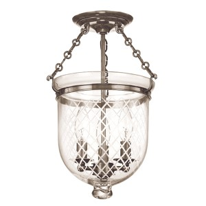 Hampton Historic Nickel 15-Inch Three-Light Semi Flush with Clear Diamond Cut Glass
