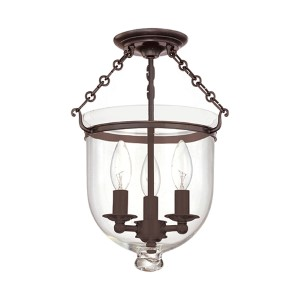 Hampton Small Old Bronze Semi Flush Ceiling Light