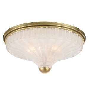 Paris Aged Brass Three-Light Flush Mount