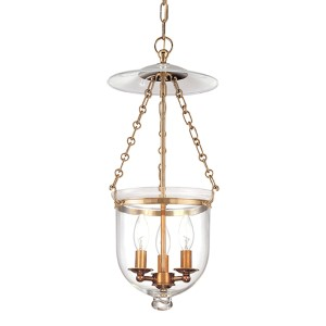 Hampton Aged Brass 21-Inch Lantern Mini Pendant with Clear Glass