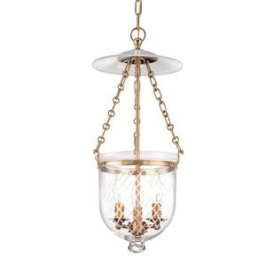 Hampton Aged Brass 21-Inch Lantern Mini Pendant with Clear Diamond Cut Glass