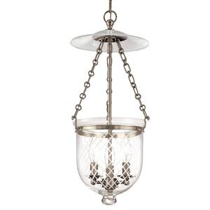 Hampton Historic Nickel 21-Inch Lantern Mini Pendant with Clear Diamond Cut Glass