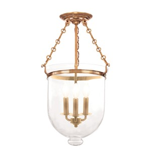 Hampton Aged Brass 21-Inch Three-Light Semi Flush with Clear Glass