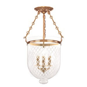 Hampton Aged Brass 21-Inch Three-Light Semi Flush with Clear Diamond Cut Glass
