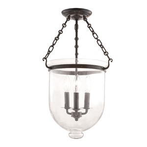 Hampton Old Bronze Three-Light Semi Flush with Clear Glass