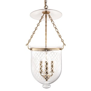 Hampton Aged Brass 25-Inch Three-Light Pendant with Clear Diamond Cut Glass
